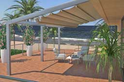 Pérgola de aluminio para la terraza o jardín , el la playa
